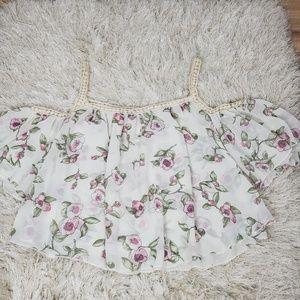 Women's Off Shoulder Floral Print Crop Top Floral